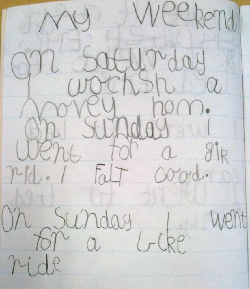 Week 7 Term 2 Writing Samples - 5 & 6 Year Olds (17 weeks of formal education for my Prep students! ) (1/6)
