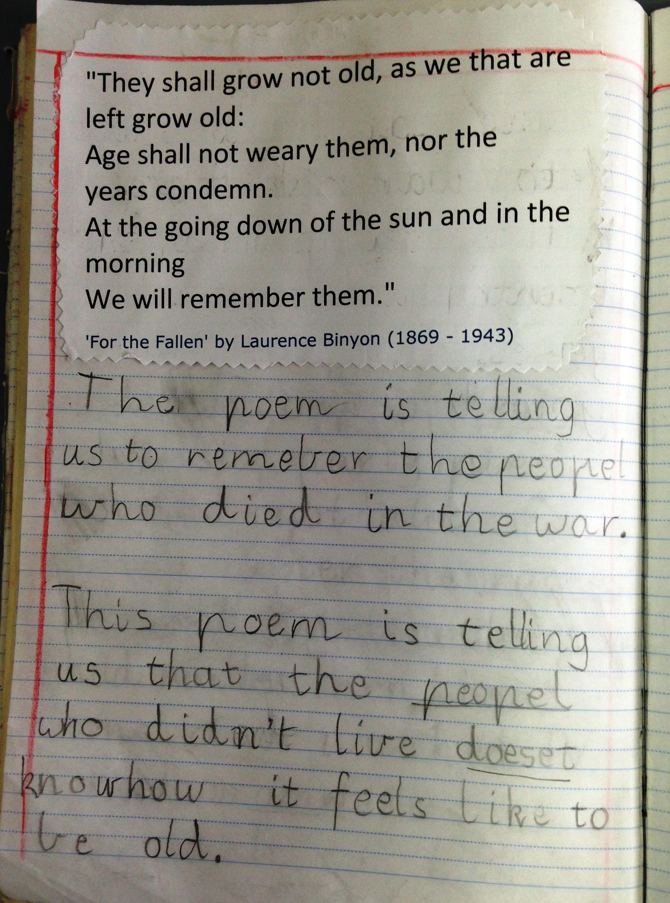 Classroom Writing Ideas ~ A written response to the ode from for fallen by