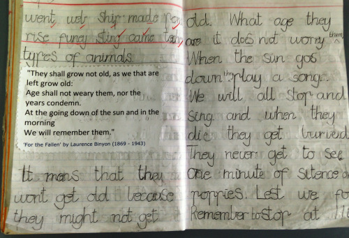 Classroom Ideas Year 6 ~ A written response to the ode from for fallen by